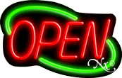Deco Style Red Open With Green Border Neon Sign