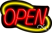 Deco Style Red Open With Yellow Border Neon Sign