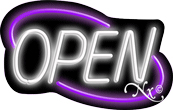 Deco Style White Open With Purple Border Neon Sign