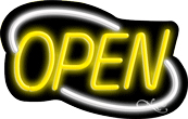 Deco Style Yellow Open With White Border Neon Sign