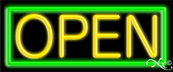 Green Border With Yellow Open Neon Sign
