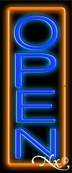 Orange Border With Blue Vertical Open Neon Sign