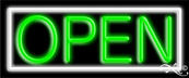 White Border With Green Open Neon Sign