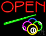 Open With Billiards Logo Neon Sign