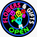 Flowers And Gifts Open Neon Sign