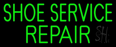 Green Shoe Service Repair Neon Sign