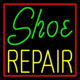 Green Shoe Yellow Repair With Border Neon Sign