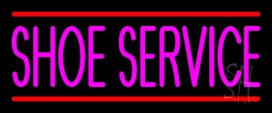 Pink Shoe Service With Line Neon Sign