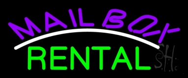 Purple Mailbox Green Rental Block 2 Neon Sign