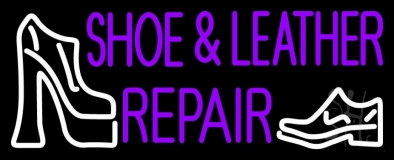 Purple Shoe And Leather Repair Neon Sign