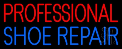 Red Professional Blue Shoe Repair Neon Sign