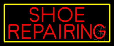 Red Shoe Repairing With Border Neon Sign