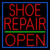 Red Shoe Repair Open Neon Sign