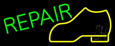 Yellow Boot Green Repair Neon Sign
