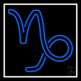 Blue Capricorn Logo White Border Neon Sign