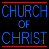 Blue Church Of Christ Neon Sign