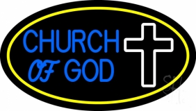 Blue Church Of God Yellow Border Neon Sign
