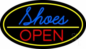 Blue Cursive Shoes Open Neon Sign