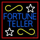 Blue Fortune Teller With Red Border Neon Sign