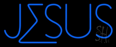 Blue Jesus Block Neon Sign