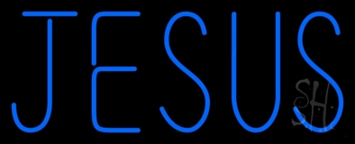 Blue Jesus Neon Sign