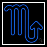 Blue Scorpio White Border Neon Sign