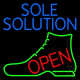 Blue Sole Solution Open Neon Sign