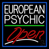 European Psychic Open Blue Border Neon Sign