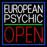 European Psychic Open Green Line Neon Sign