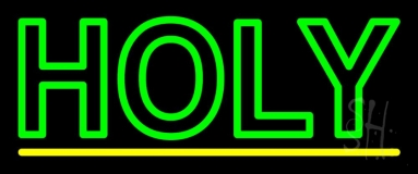 Green Holy Neon Sign