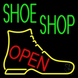Green Shoe Shop Open Neon Sign