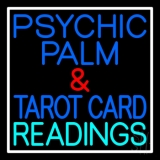 Psychic Palm And Tarot Card Readings White Border Neon Sign