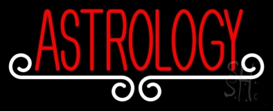Red Astrology White Line Neon Sign