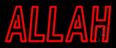 Red Double Stroke Allah Neon Sign
