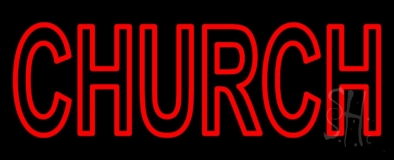 Red Double Stroke Church Neon Sign
