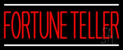 Red Fortune Teller White Line Neon Sign