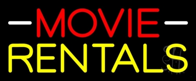 Red Movie Yellow Rentals Neon Sign