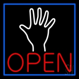 Red Open Psychic Blue Border Neon Sign