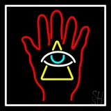 Red Palm With Eye Pyramid Neon Sign