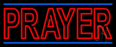 Red Prayer With Line Neon Sign