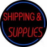 Red Shipping Supplies With Circle Neon Sign