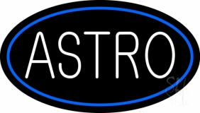White Astro Blue Border Neon Sign
