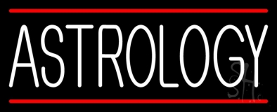 White Astrology Block Red Line Neon Sign