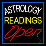 White Astrology Yellow Readings Red Open And Blue Border Neon Sign