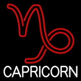 White Capricorn Red Logo Neon Sign