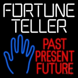 White Fortune Teller With Blue Palm Neon Sign