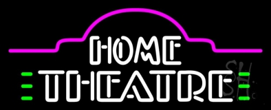 White Home Theatre Neon Sign