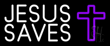 White Jesus Saves Purple Cross Neon Sign
