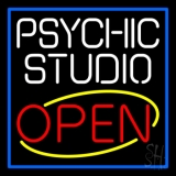 White Psychic Studio Red Open Blue Border Neon Sign