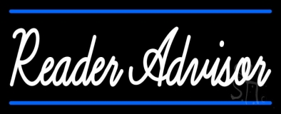 White Reader Advisor With Blue Border Neon Sign